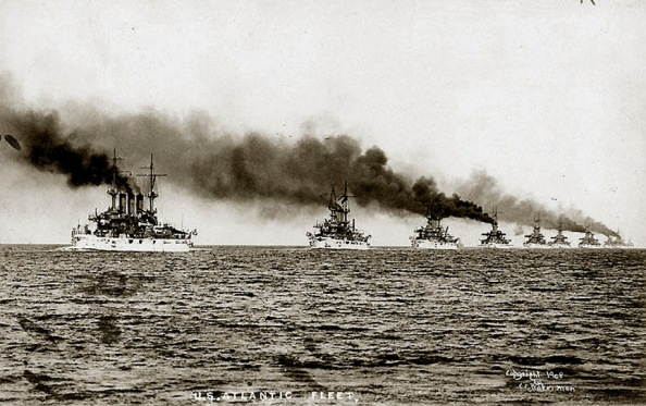 The Great White Fleet leaves Hampton Roads Virginia.