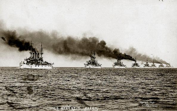 The Great White Fleet leaves Hampton Roads Virginia.