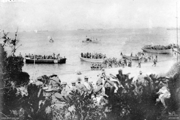 An original image of one of the landings at ANZAC Cove, this one at 8AM on April 25 1915. (Image Credit – Australian War Memorial Archives)