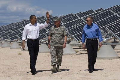 President Obama visits the Nellis Solar PV Plant.