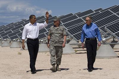 President Obama visits the Nellis Solar PV Plant.