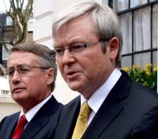 Australian Prime Minister Kevin Rudd (right) and Treasurer Wayne Swan.