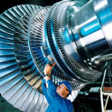 A section of a steam turbine for a large power plant. Image courtesy of Siemens and is a Commons image..
