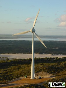 Large Wind Turbine at Nine Mile Beach Wind Farm. Image courtesy of Verve Energy.