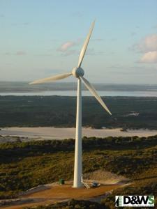 Large Wind Turbine at Nine Mile Beach Wind Farm. Image courtesy of Verve Energy.
