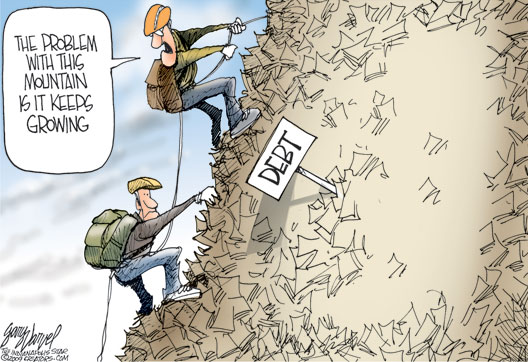 Growing Mountain Of Debt - cartoon