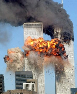 The Twin Towers Afire