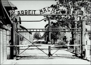 The gates of Auschwitz, one of the infamous Nazi concentration camps.