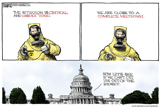 Toxic Meltdown Budget Cuts Cartoon