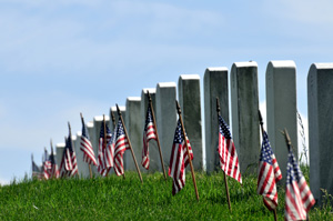 Headstones And Flags