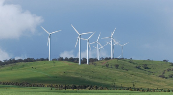 Challicum Hills Wind Power Plant near Ararat in Victoria Australia.
