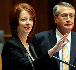 Australian Prime Minister Julia Gillard And Treasurer Wayne Swan