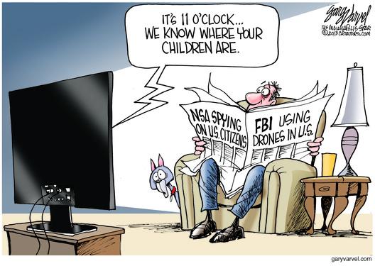 Cartoonist Gary Varvel: NSA, FBI, drones and your children