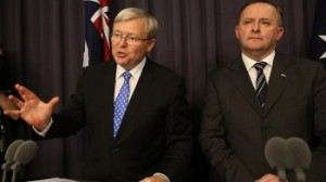 Australian Prime Minister Kevin Rudd and Deputy Prime Minister Anthony Albanese