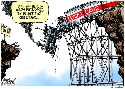Cartoonist Gary Varvel: Obamacare train wreck delayed