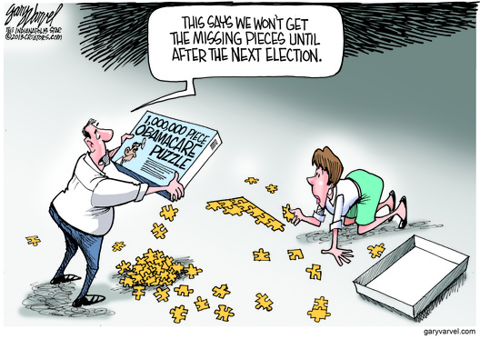 Cartoonist Gary Varvel: Obamacare puzzle's missing pieces