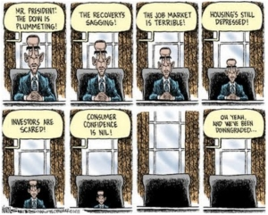 Cartoon - shrinking president