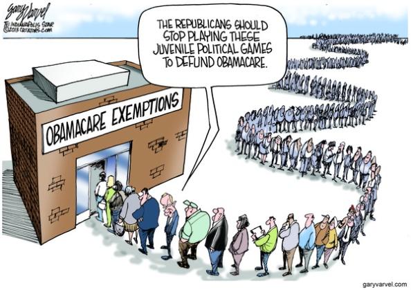 Cartoonist Gary Varvel: Obamacare exemptions and political games