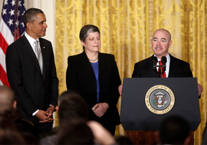 President Obama, Janet Napolitano and Alejandro Mayorkas