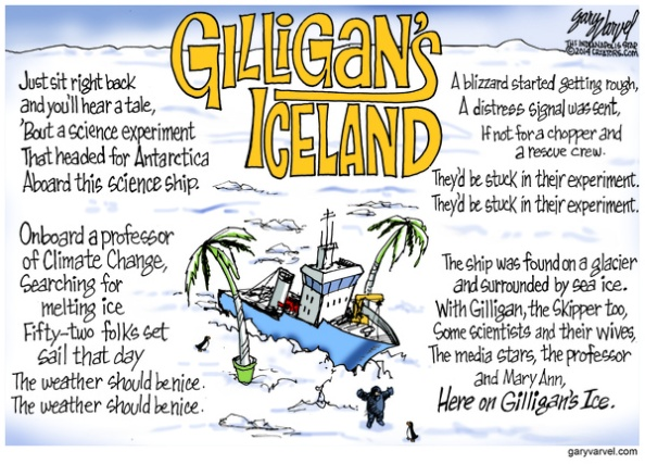 Cartoonist Gary Varvel: Climate Change scientists on ice