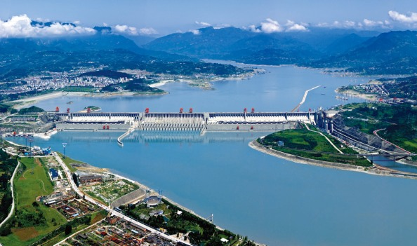 China's Three Gorges Hydro Dam. The generators are either side of the spillway in the middle of the dam. There are 35 turbines in all.