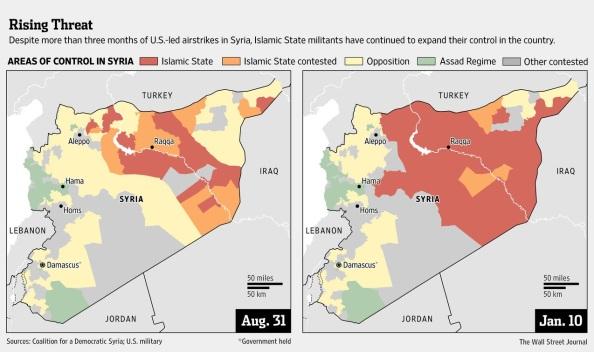 ISIS advances - Aug 2014 v Jan 2015