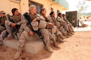 U.S. Marines from 3rd Marine Aircraft Wing listen to a brief as they begin training as part of the Lioness Team on Camp Korean Village, Iraq, July 31, 2006. (U.S. Marine Corps photo by Sgt. Jennifer L. Jones) (Released)