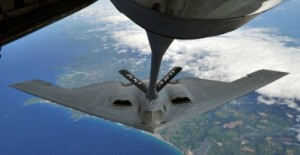 A B-2 Spirit from Whiteman Air Force Base, Mo., performed air refueling with a KC-135 Stratotanker from Royal Air Force Mildenhall June 11, 2014, over Cornwall, England. Whiteman AFB is participating in familiarization training operations while deployed to RAF Fairford. (U.S. Air Force Senior Airman/Christine Griffiths)