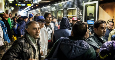 A train with Syrian refugees arrives at Stockholm Central Station in Sweden. (Photo: Zuma Press/Newscom