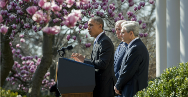 In the Rose Garden, President Obama introduces Merrick Garland, his nominee to the Supreme Court. Vice President Joe Biden is on the president's right. (Photo: Pat Benic/UPI/Newscom)