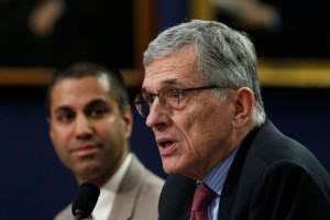 Federal Communications Commission Chairman Tom Wheeler (right) and Commissioner Ajit Pai (left) disagree over the impact of net neutrality. (Photo: Kevin Lamarque/Reuters/Newscom)