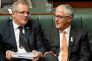 Treasurer Scott Morrison (left) and Prime Minister Malcolm Turnbull