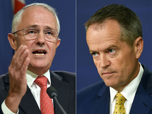 Australian Prime Minister Malcolm Turnbull (left) and Labor Party Leader Bill Shorten.