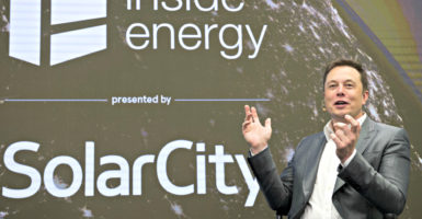 Elon Musk, chairman of SolarCity and CEO of Tesla Motors, speaks at a SolarCity summit in Manhattan on Oct. 2, 2015. (Photo: Rashid Umar Abbasi/Reuters/Newscom)