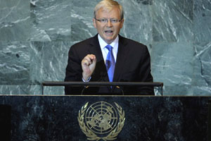 Former Australian Prime Minister Kevin Rudd speaking at the United Nations.