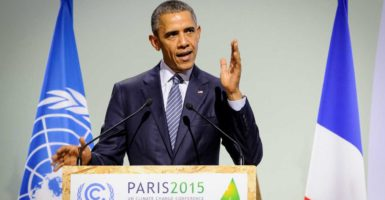 President Barack Obama addresses the United Nations Climate Change Conference in 2015 outside Paris in Le Bourget, France. (Photo: Arnaud Bouissou/Zuma Press/Newscom)