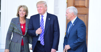 After meeting with several candidates, Donald Trump announces he intends to nominate Betsy DeVos as secretary of the Department of Education. (Photo: Pacific Press/Sipa USA/Newscom)