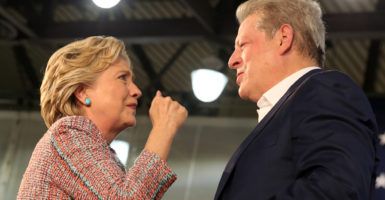 Democrat presidential candidate Hillary Clinton and former Vice President Al Gore spoke about climate change at a rally in Miami on Oct. 11. (Photo: Lucy Nicholson/Reuters/Newscom)