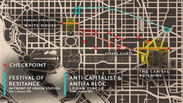 A map provided to Washington-bound protesters by the anti-Trump group Disrupt J20.