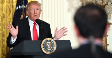 President Donald Trump holds a press conference Thursday in the White House East Room, which became combative at times. (Photo: Pat Benic/UPI/Newscom)
